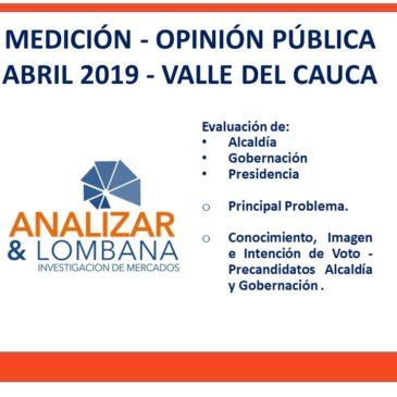 RESULTADOS MEDICIÓN – OPINIÓN PÚBLICA  ABRIL 2019 – VALLE DEL CAUCA